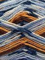 İçerik 75% Superwash Wool, 25% Polyamid, White, Brand Ice Yarns, Gold, Brown, Blue Shades, fnt2-69175