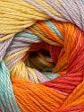 Fiber Content 100% Mercerised Cotton, Yellow, Orange Shades, Lilac, Light Turquoise, Brand Ice Yarns, fnt2-69532