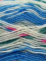 Fiber Content 75% Acrylic, 25% Wool, White, Brand Ice Yarns, Blue, fnt2-69827